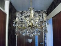 exact matching pair of vintage French chandeliers with real glass drops and trays