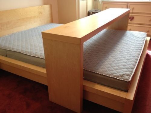 Merveilleux Ikea Malm Kingsize Bed With Mattress And Sliding Over Bed Table