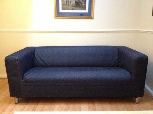 Beautiful 2 Seater IKEA KLIPPAN Denim SOFA