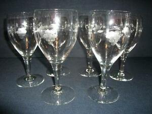 etched wine glass flower - Etched Wine Glasses