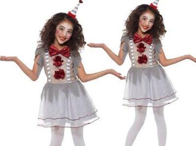 Mädchen Vintage Clown Kostüm Unheimlich Zirkus Halloween Kinder 4-12 -