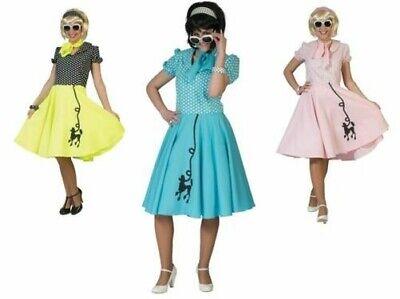 Erwachsene 1950's Kostüm Rock n Roll Rock & Schal 50s Fett Damen Pudel - Pudel Rock Kleid Kostüm