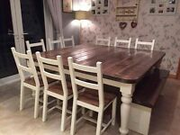 Reclaimed rustic timber tables