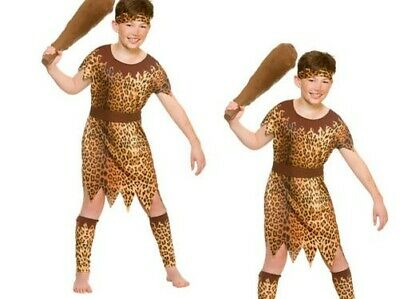 Stone Age Cave Boy Childrens Fancy Dress Costume Caveman Prehistoric Age 5-10