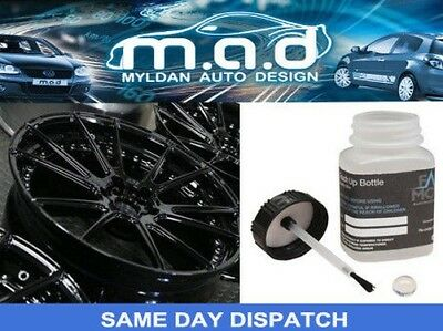 GLOSS BLACK ALLOY WHEEL TOUCH UP KIT REPAIR KIT PAINT WITH BRUSH CURBING SCRATCH
