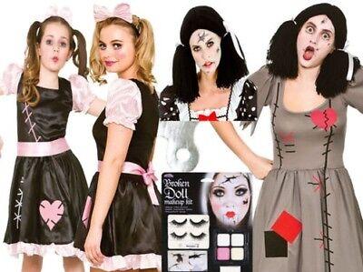 Zombie Stoffpuppe Erwachsene Damen Kinder Mädchen Make-Up Halloween Kostüm