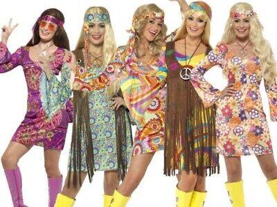 Damen 1960's 60's Mini Retro Hippie Gogo Erwachsene Damen Kostüm Kostüm