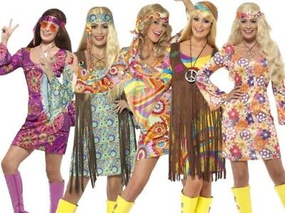 Damen 1960er 60er Jahre Mini Retro Hippie Gogo Erwachsene Damen Maskenkostüm