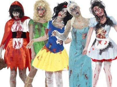 Damen Halloween Märchen Horror Kostüm Zombie Alice Damen Verkleidung (Zombie Alice Kostüm)