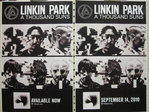 LINKIN PARK 2010 THOUSAND SUNS 2 sided promotional poster Flawless New Old Stock