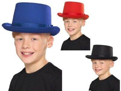Zylinder Kinder Rot Schwarz oder Blau Viktorianisch Zauberer Kinder Kostüm