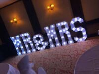 4ft MR & MRS light up letters hire