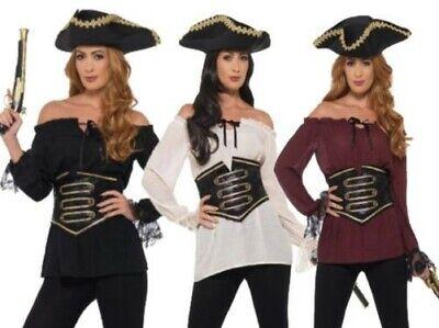 Deluxe Piraten Hemd Damen Piraten Kostüm Zubehör + Taillenmieder - Damen Piraten Kostüm Zubehör