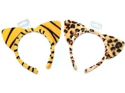 Tiermuster Haarreifen mit Ohren Stirnband Tiger oder Leopard