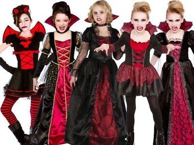 üm Gothik Vampirin Kostüm Dracula Halloween Outfit Neu (Mädchen Halloween-outfit)