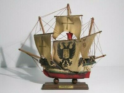 Vintage Model Ship Sailing Ship Caravelle Santa Maria Wooden End Xx Century