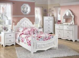 GIRLS 6PCS. SINGLE WHITE BEDROOM SET | KIDS WHITE BEDROOM SET (ASH2205)