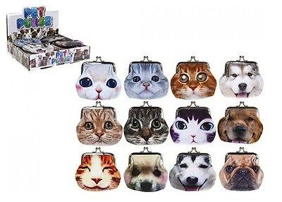 Kids Coin Purse Ladies Make Up Bag Cat Dog PVC Glitter Purses  ()
