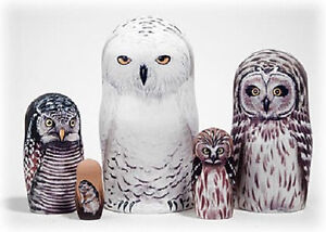 Russian Nesting Doll - Snowy Owl Doll 5pc 6
