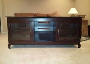 Wide espresso wood TV entertainment credenza