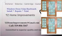 Windows Doors Trims Baseboards - Install Repairs Paint