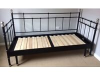 Day bed, slatted wooden base, pulls out to double