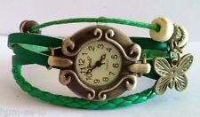 CUTE DIAL VINTAGE BRACELET WATCH FOR WOMEN - GREEN - FREE SPARE BATTERY
