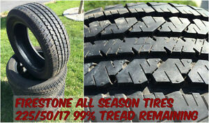 LIKE NEW 225/50/17 Firestone All Season Tires