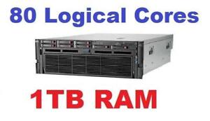 80 Logical Cores ,4 X 10 Core Processor , 1TB RAM , 3 X 300Gb 10K SAS , 4 X  PSU , HP Proliant  DL580 G7 Server