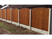 heavy duty fencing package deal 5ft high timber panels conreet posts & gravel boards