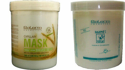 SALERM 21 B5 PROTEIN Wash one's hands of IN & WHEAT GERM CAPILLARY MASK LITERS (FREE PUMP)