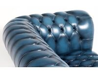 Antique blue chester field 3 to 4 seater
