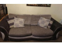 Pull out Sofa bed (settee) and separate armchair cream and brown suede