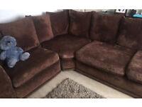 Brown large corner sofa