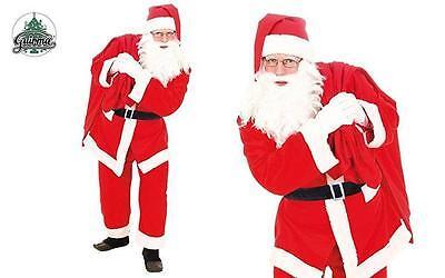 Costume Babbo Natale Ciniglia Taglia Unica Uomo Travestimento Santa Claus Nuovo