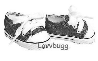 "Lovvbugg  Black Sequins Sneakers Sparkle for 18"" American Girl or Boy or Bitty Baby Doll Shoes"