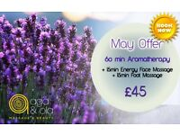 MAY OFFER WITH AGA&OLA! Enjoy a 60min treatment and get 3omin for FREE!