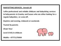 BABYSITTING SERVICES: Crawley, Gatwick, West Sussex