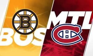 2 billets Boston Bruins vs Canadiens de Montréal 17 décembre
