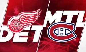 85$/billet Gris 1ere rangée - Canadiens / Red Wings 12 mars