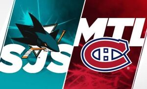 Rouge 300$ la paire Dimanche 2 décembre Canadiens vs Sharks