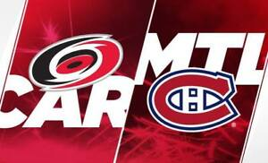 2 billets Carolina Hurricanes vs Canadiens de Montréal 27 nov