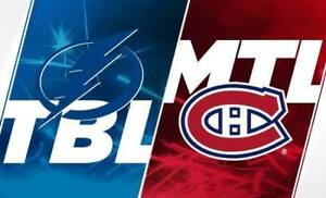 CANADIENS VS TAMPA BAY BLANC MARDI LE 2 AVRIL.(2X303CC)