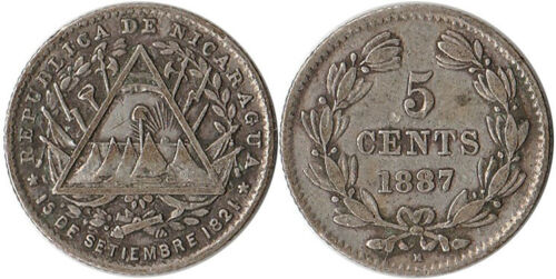 1887 (H) Nicaragua 5 Centavos Silver Coin KM#5 One Year Type