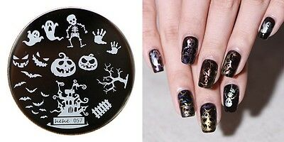 PIASTRA HALLOWEEN NAIL ART stamping PLATE manicure SKULLS STENCIL template gel
