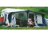 Caravan awning 960cms- Eurovent blue/grey acrylic, fibreglass poles