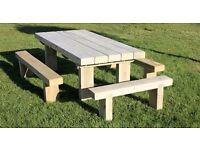 Garden table railway sleeper table garden furniture set seat bench Summer LoughviewJoineryLTD