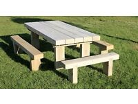 Christmas Present gift ideas Garden table railway sleeper table garden furniture set seat bench