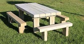 Garden table railway sleeper table garden furniture set seat bench Summer Loughview Joinery