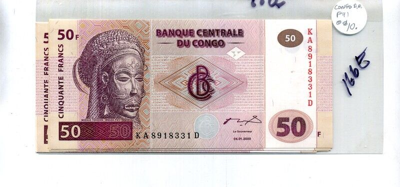 CONGO 50 FRANCS 2000 CURRENCY NOTE CU